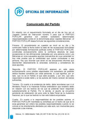 Comunicado del PP sobre la fianza civil de 1,2 millones de euros impuesta al partido como responsable civil subsidiario por su caja b (Página 1/2).