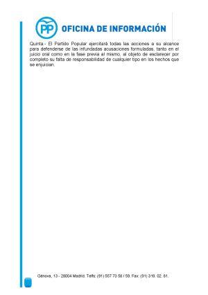 Comunicado del PP sobre la fianza civil de 1,2 millones de euros impuesta al partido como responsable civil subsidiario por su caja b (Página 2/2).