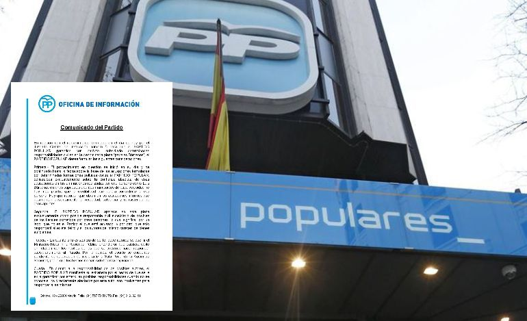 Comunicado del PP sobre la fianza civil de 1,2 millones de euros impuesta al partido como responsable civil subsidiario por su caja b.
