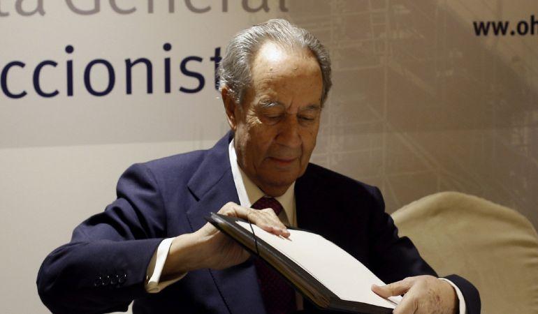 El presidente de la constructora OHL, Juan Miguel Villar Mir, durante la rueda de prensa previa a la Junta General de Accionistas de la empresa que se celebra en Madrid.
