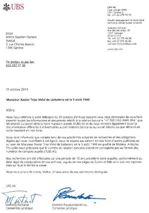 Documento de UBS en el que el banco suizo niega que Xavier Trias tenga cuentas en la entidad.