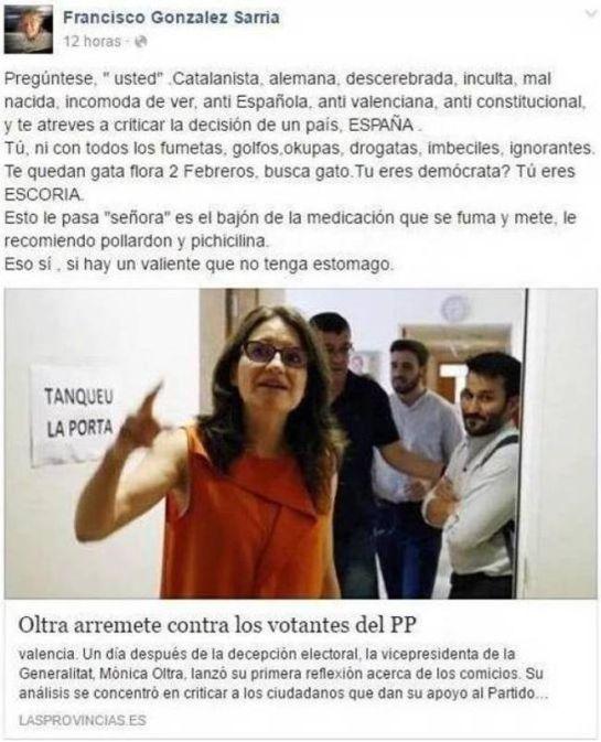"El cantante Francisco, a Mónica Oltra: ""Descerebrada, inculta, malnacida"""