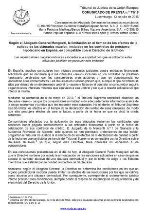 Cl usulas suelo el abogado general de la uni n europea a for Clausula suelo opiniones