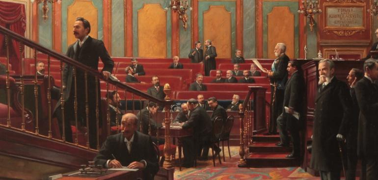 Lectura de un proyecto de Ley en el Salón de Sesiones (detalle). 1908. Asterio Mañanós.