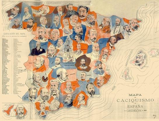 Mapa de los caciques en España a finales del siglo XIX.