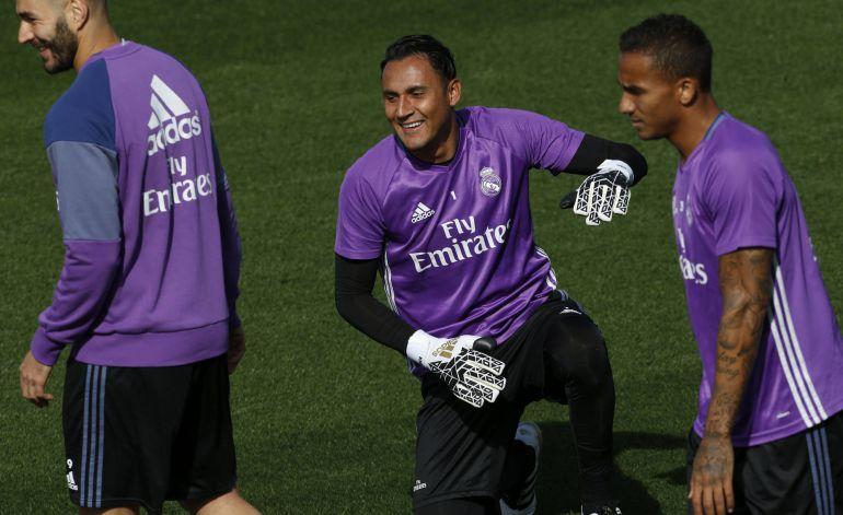 Keylor Navas, en el entrenamiento previo al choque del Real Madrid ante la UD Las Palmas.