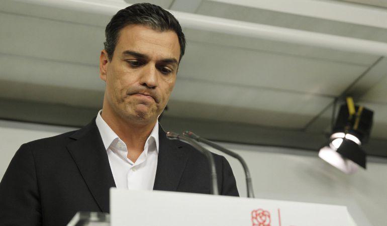 Pedro Sánchez, durante su intervención tras la dimisión de 17 miembros de la Ejecutiva el pasado 30 de septiembre.