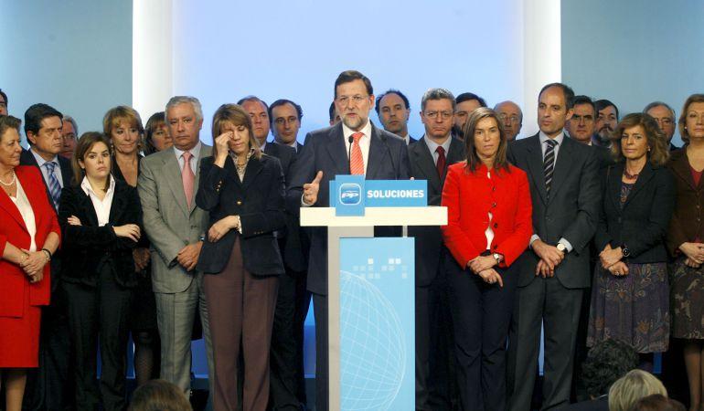 El líder del PP, Mariano Rajoy, durante la rueda de prensa que ofreció el 11 de febrero de 2009 tras la reunión del Comité Ejecutivo Nacional de su partido convocada con carácter de urgencia para analizar la situación derivada de la investigación del 'caso Gürtel'
