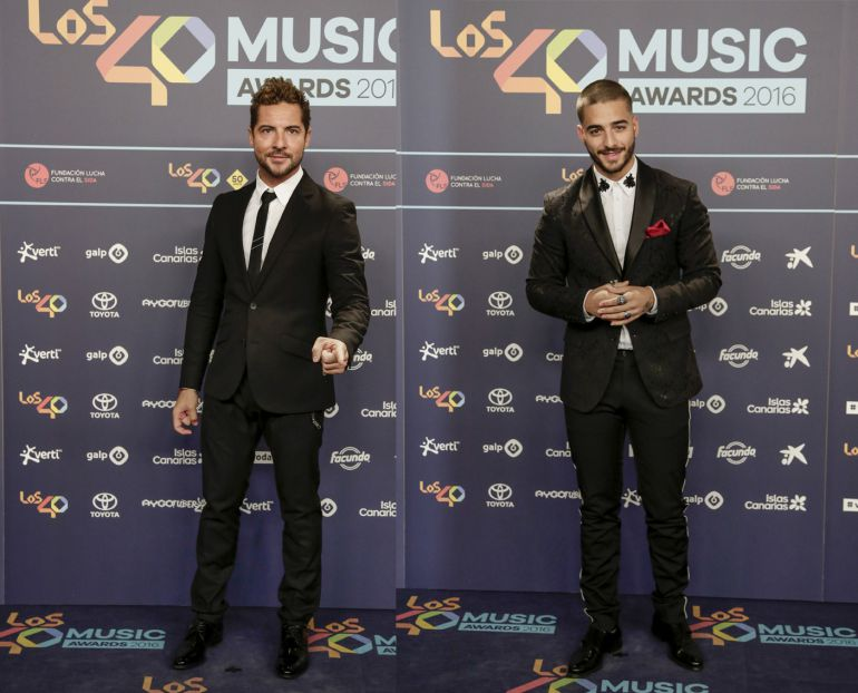 David Bisbal y Maluma en la cena de nominados de LOS40 Music Awards