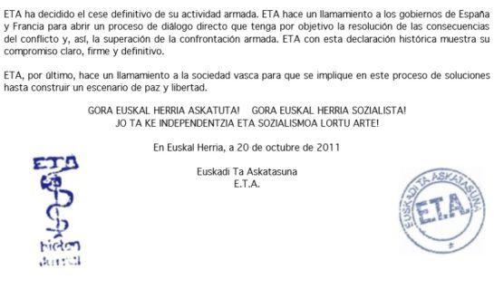 """Fragmento del comunicado de ETA, en el que anuncia el fin de su """"actividad armada""""."""