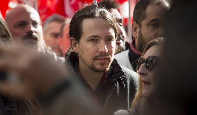 El líder de Podemos, Pablo Iglesias, durante su participación en una manifestación sindidal.