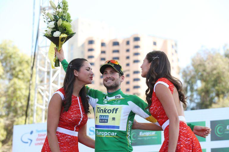 Manuele Boaro, ciclista del TInkoff, en el pódium del Tour Down Under.