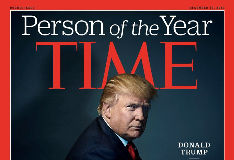 Donald Trump posa en la portada de la revista 'Time'.
