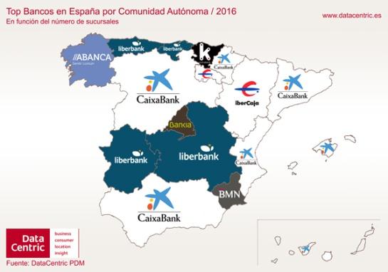6 mapas de espa a que muestran las marcas l deres en cada for Sucursales banco espana