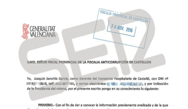 FOTOGALERÍA | Las nuevas facturas irregulares en el Hospital Provincial de Castellón. En la foto, un fragmento de la denuncia