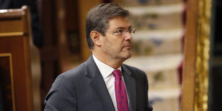 El ministro de Justicia, Rafael Catalá, se dirige a la tribuna de oradores, durante la sesión de control al Gobierno.