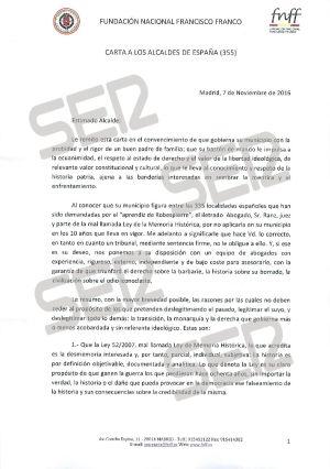 Carta enviada por la Fundación Francisco Franco (página 1 de 3).