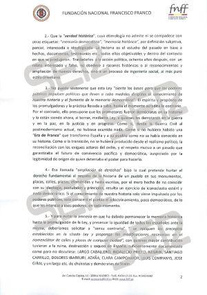Carta enviada por la Fundación Francisco Franco (página 2 de 3).