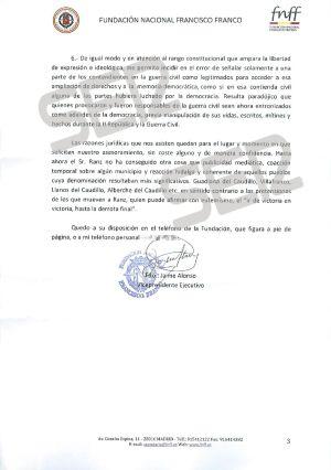 Carta enviada por la Fundación Francisco Franco (página 3 de 3).