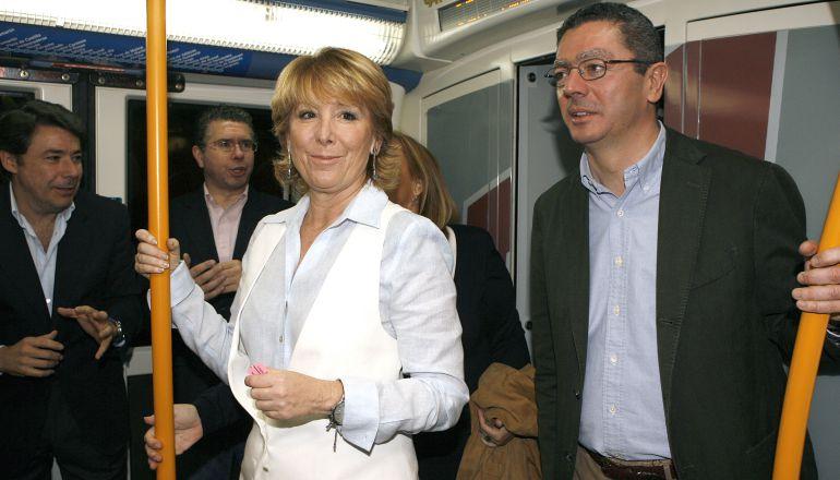 Aguirre, Gallardón, González y Granados en 2007 inaugurando una ampliación del Metro