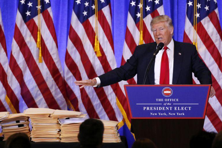 El presidente electo de EEUU Donald Trump durante la rueda de prensa.