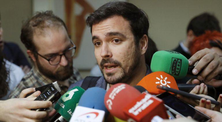 El coordinador federal de IU y portavoz de Unidos Podemos en la Comisión de Hacienda del Congreso, Alberto Garzón.