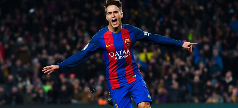 Denis Suárez celebra su gol en el Camp Nou