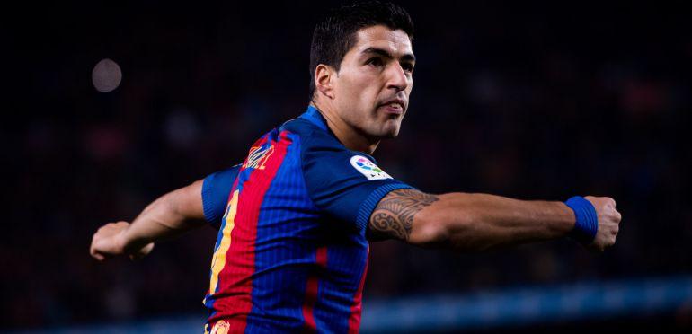 Suárez celebra su gol ante el Atlético de Madrid en el Camp Nou