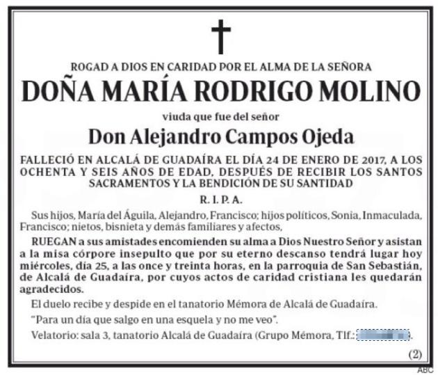 """""""Para un día que salgo en una esquela y no me veo"""": la esquela de María Rodrigo Molino."""