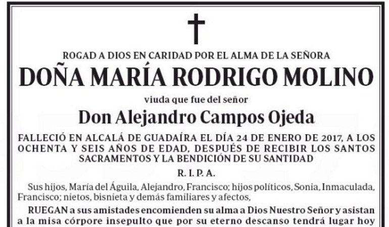 Fragmento de la esquela de María Rodrigo Molino.