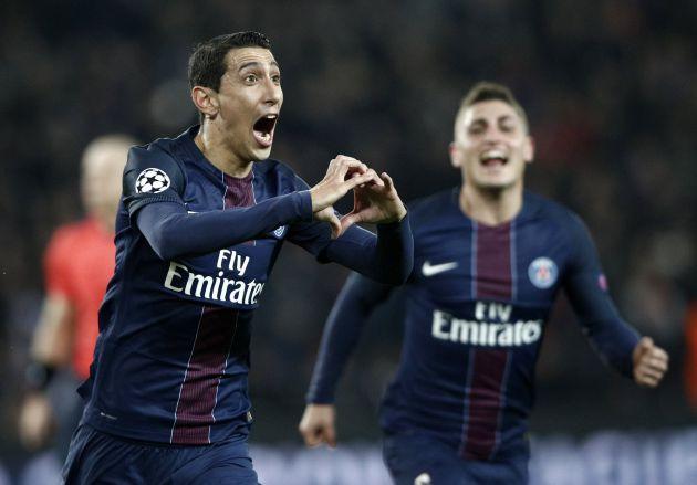 Di María celebra su primer gol de la noche