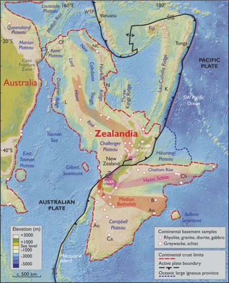 Límites espaciales de Zealandia.
