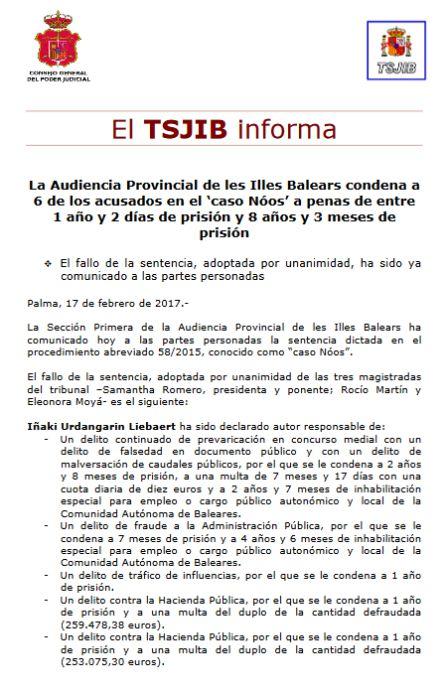 Pulsa para consultar la nota completa del Tribunal Superior de Justicia de Baleares.