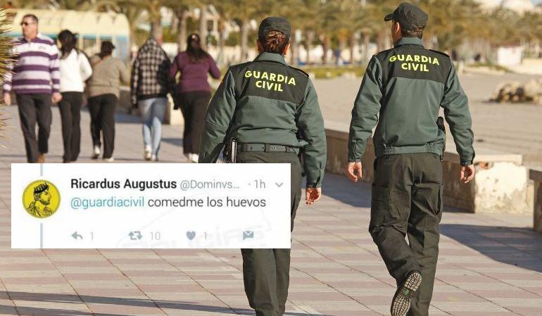 Mensaje dirigido a la cuenta de Twitter de la Guardia Civil.