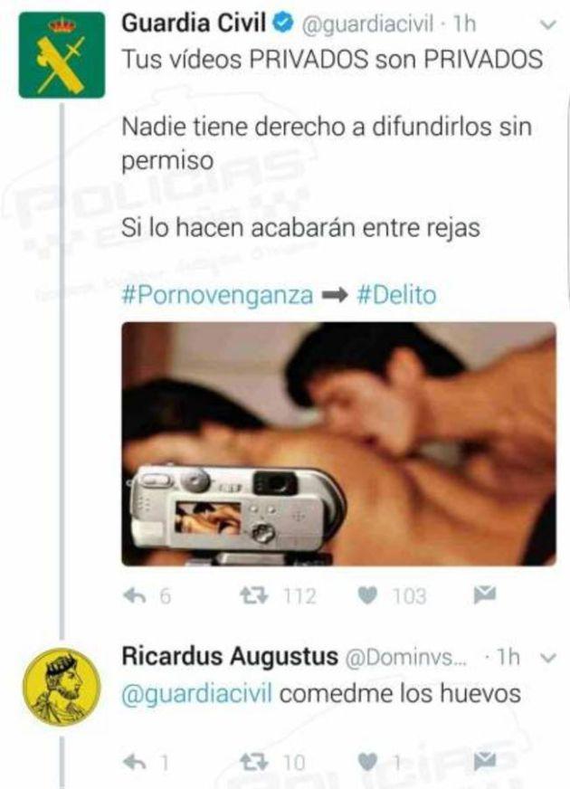 Mensaje del usuario Ricardus Augustos a la Guardia Civil, actualmente borrado.