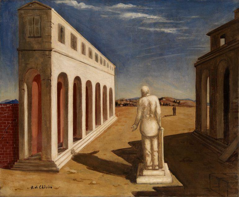 Óleo 'Piazza d'Italia (Souvenir d'Italie)' de Giorgio de Chirico, 1924.