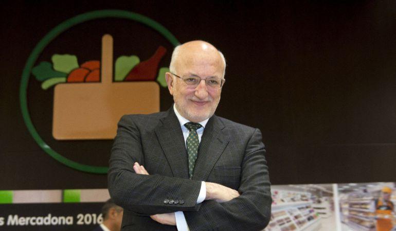 El presidente de Mercadona, Juan Roig, durante la presentación de los resultados de la compañía de 2016.
