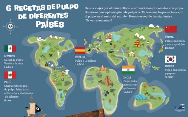 Platos de pulpo de diferentes partes del mundo.