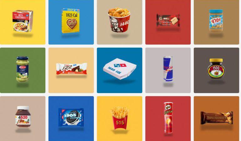Las calorías de los diferentes productos analizados por Calorie Brands.