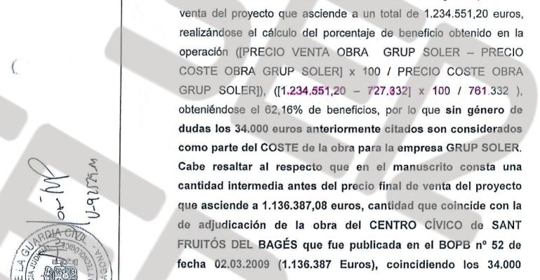El grupo Soler obtuvo un beneficio de más del 62,16% de un proyecto que les costó 700.000 euros y que la constructora infló hasta la cantidad que se les adjudicó en la licitación.
