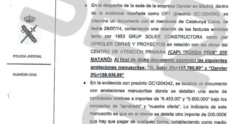 """En el registro policial que se realizó a la empresa OPROLER la Guardia Civil se incautó de una anotación en la que se explicaba que había que aportar 200.000 euros de """"cualquier forma""""."""
