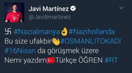 La cuenta hackeada del futbolista Javi Martínez.
