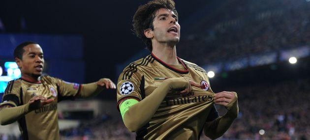 Kaká celebra su gol en el Calderón
