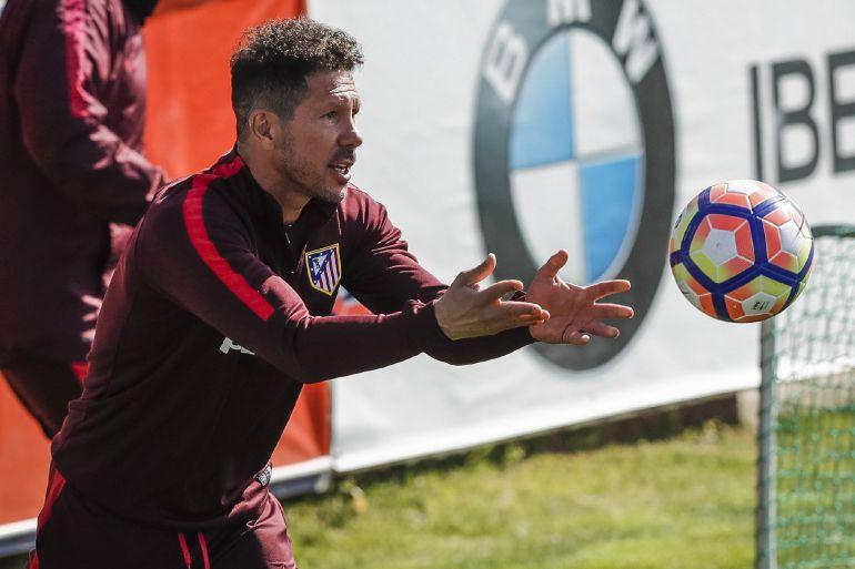 Diego Pablo Simeone el pasado viernes en la ciudad deportiva de Majadahonda.