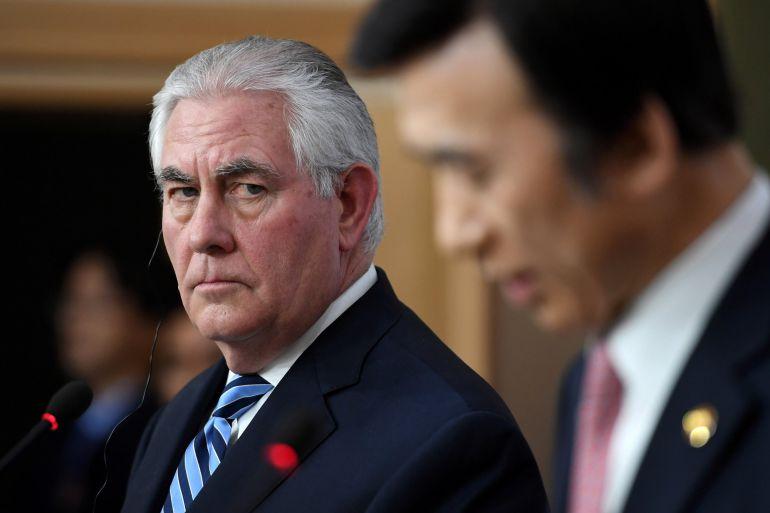 Rex Tillerson, Secretario de Estado Norteamericano durante la rueda de prensa que ha celebrado con su homólogo de Corea del Sur