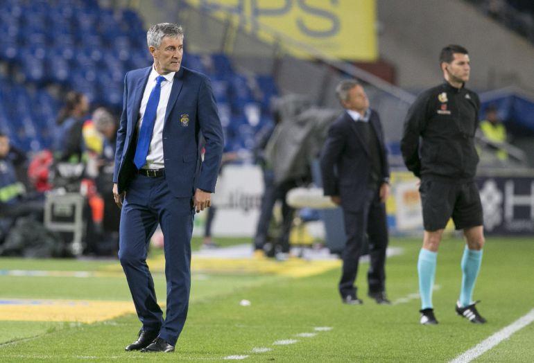 El entrenador de la UD Las Palmas Quique Setién, en el partido ante el Villarreal.