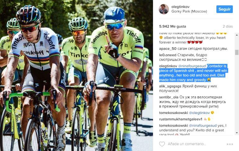 Mensaje de Oleg Tinkov sobre Contador.