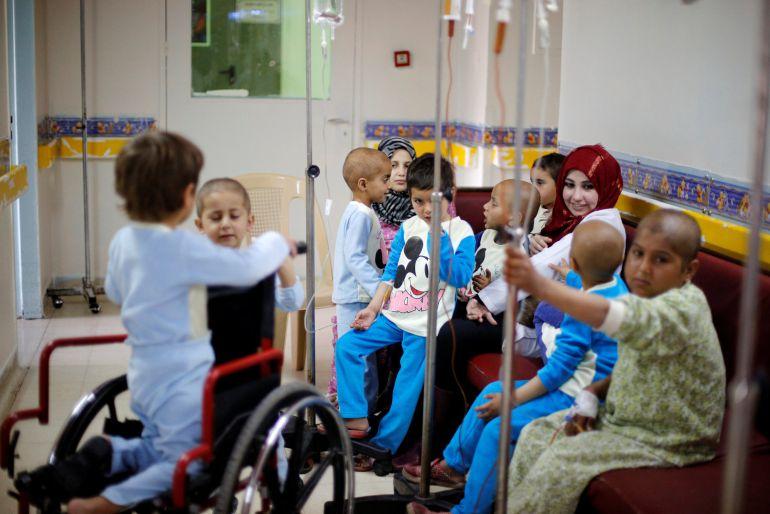 Sala dedicada a los niños con cáncer en el Hospital Infantil de Damasco, en Siria.