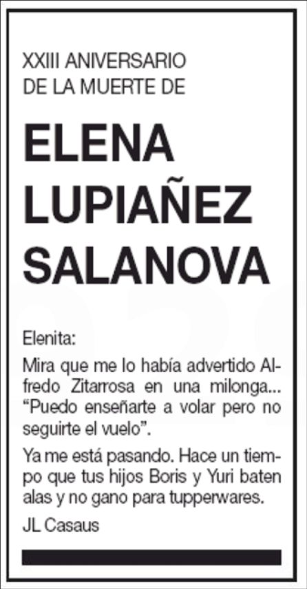 Esquela de Elena Lupiañez.