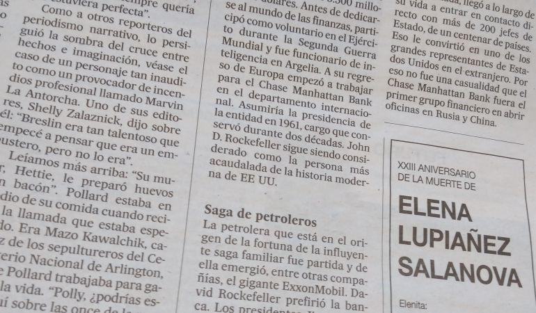 Esquela de Elena Lupiáñez en la edición impresa de 'El País'.